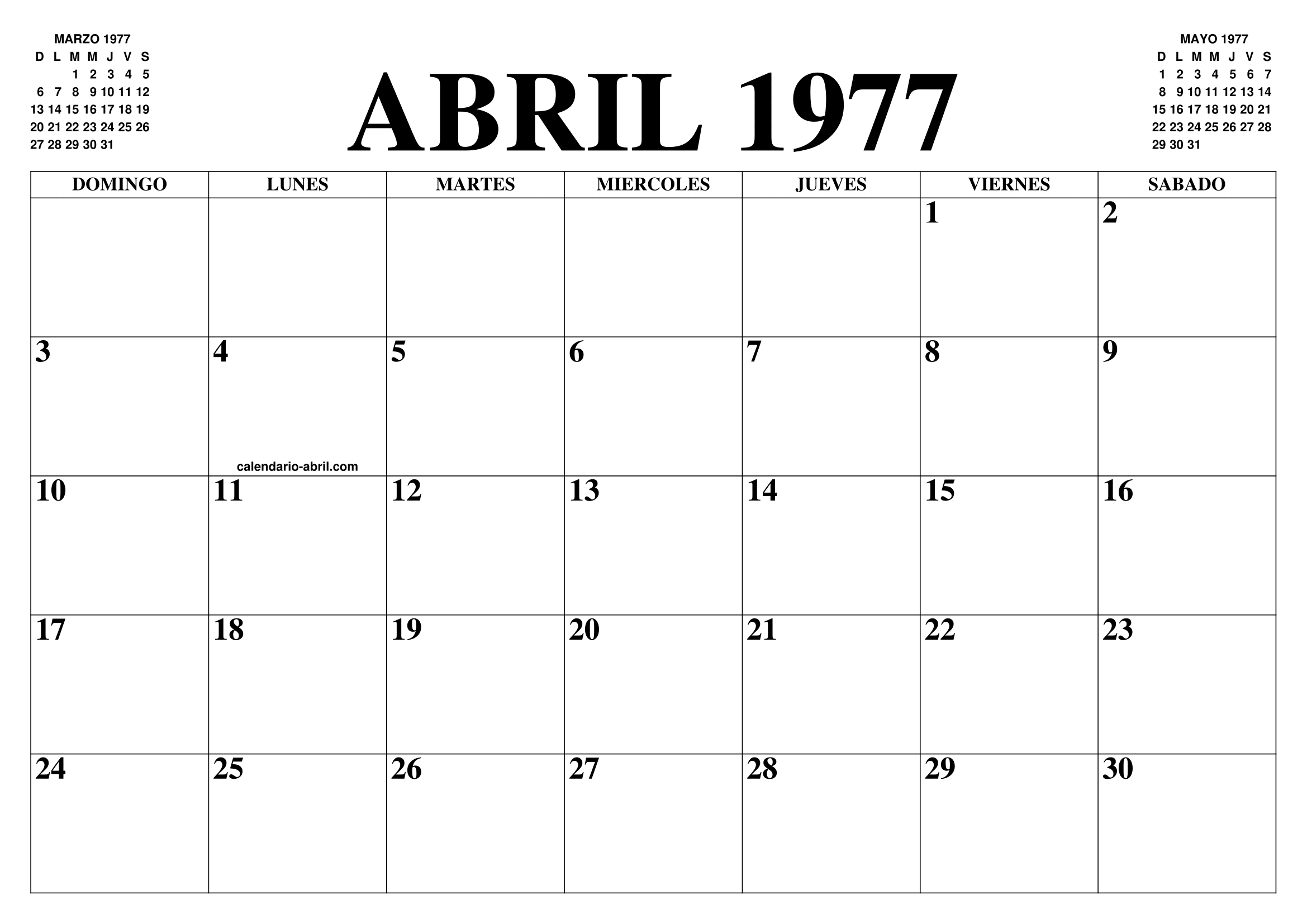 Calendario Enero 1978.Calendario Abril 1977 El Calendario Abril Para Imprimir