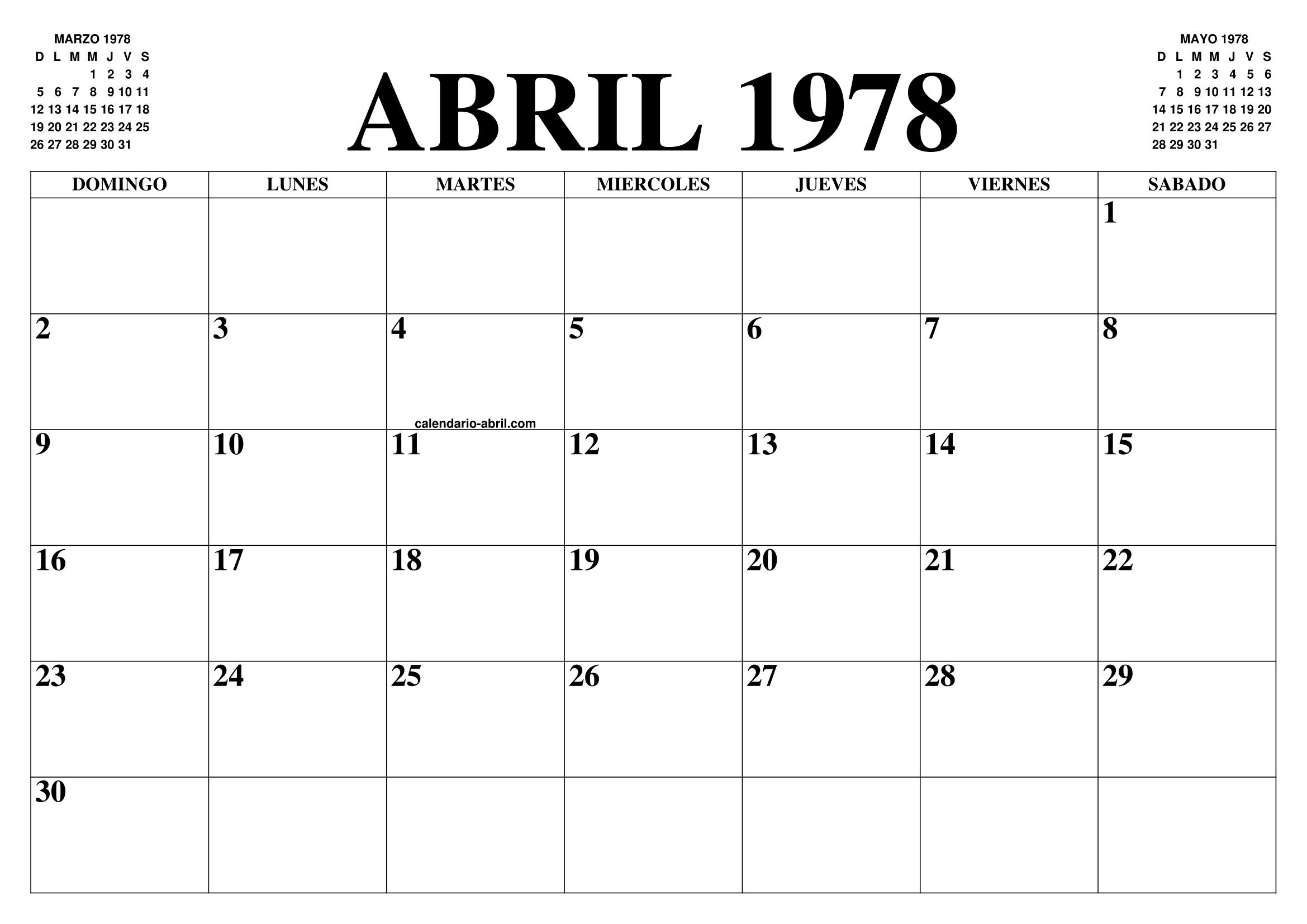 1978 Calendario.Calendario Abril 1978 El Calendario Abril Para Imprimir