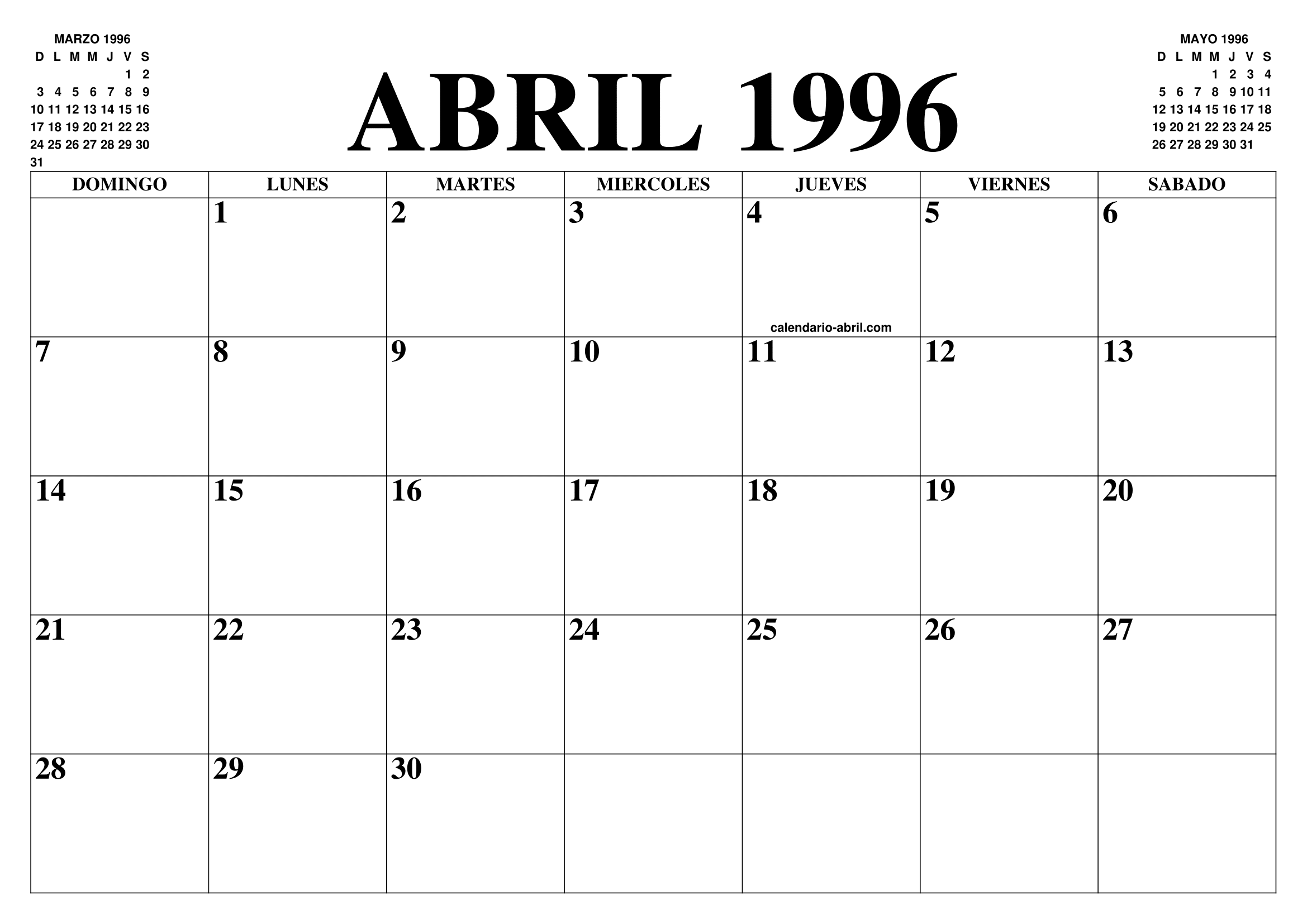 Calendario 1996.Calendario Abril 1996 El Calendario Abril Para Imprimir