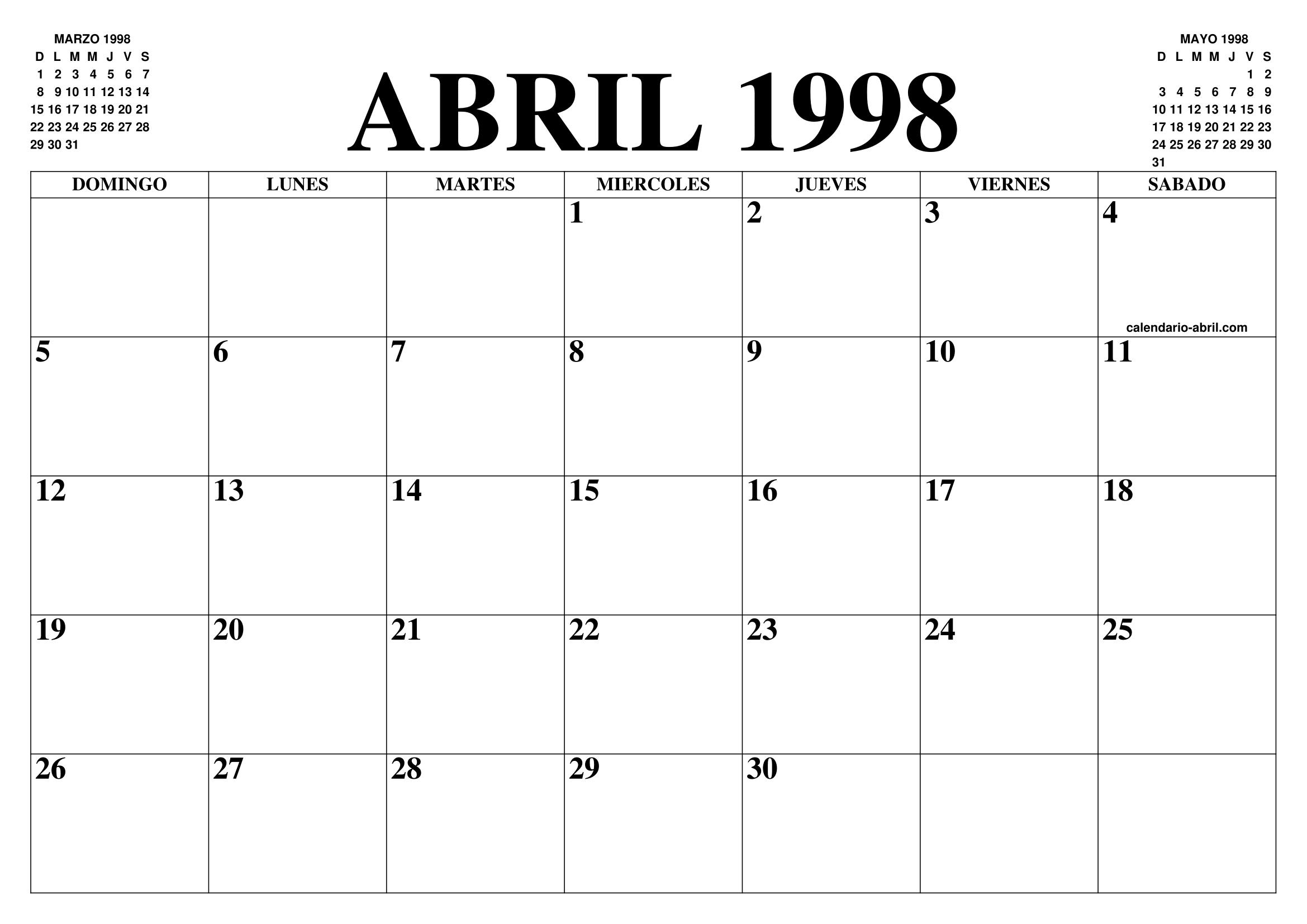 1998 Calendario.Calendario Abril 1998 El Calendario Abril Para Imprimir
