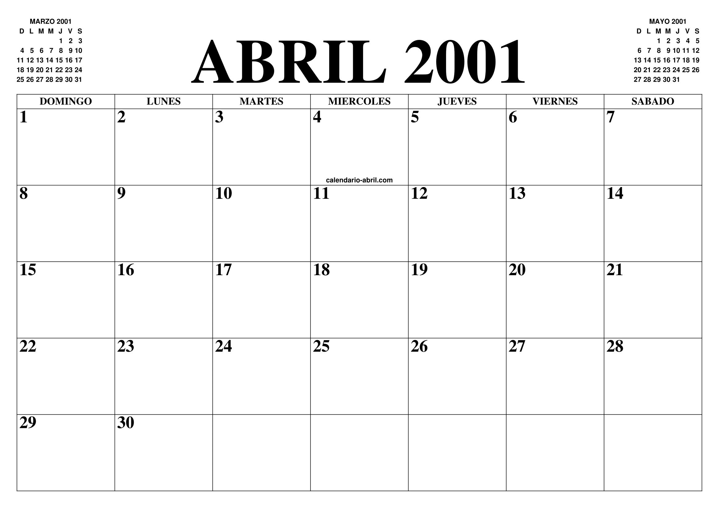 Calendario 2001.Calendario Abril 2001 El Calendario Abril Para Imprimir Gratis