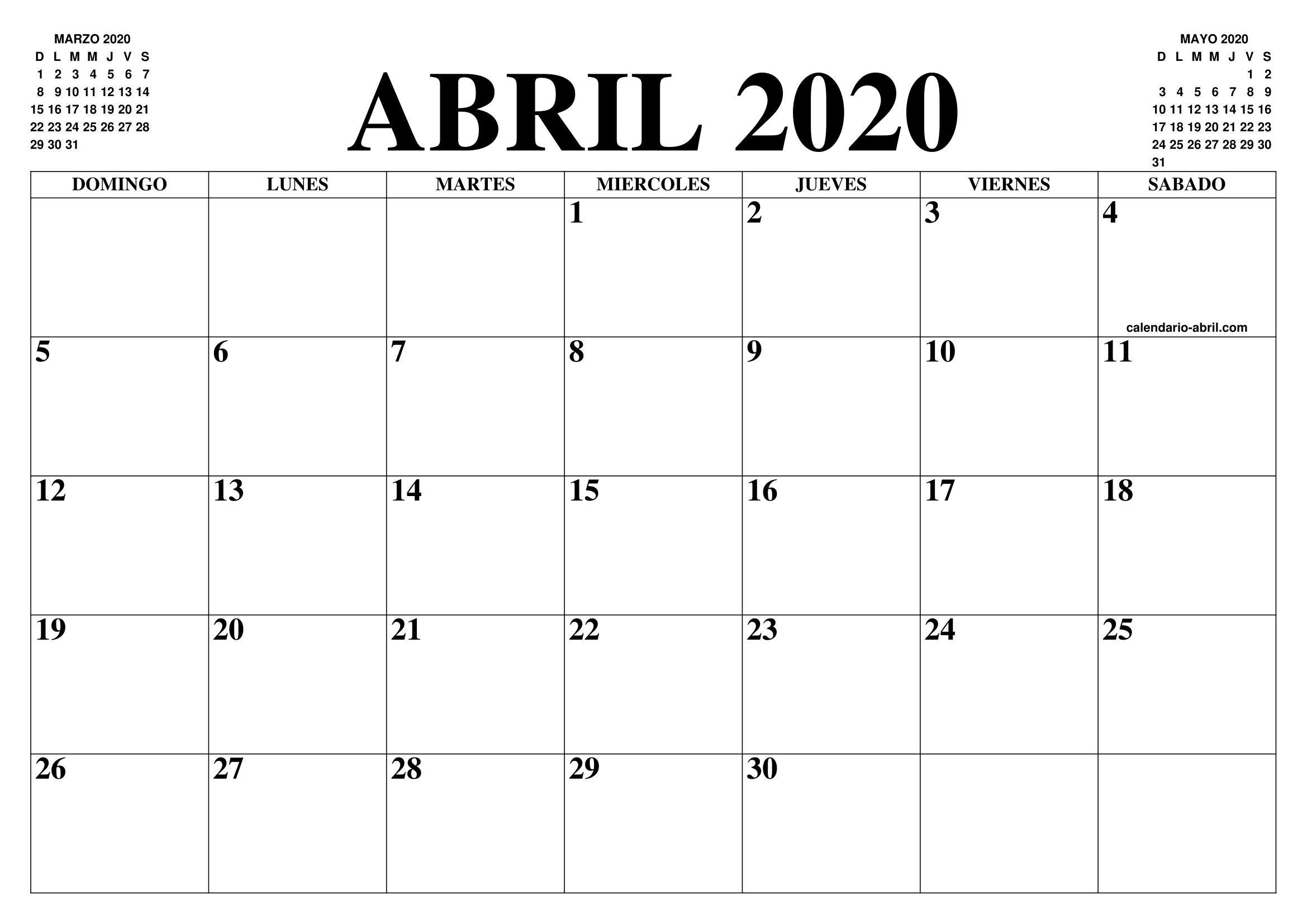 Calendario 2020 Marzo Abril.Calendario Abril 2020 El Calendario Abril Para Imprimir